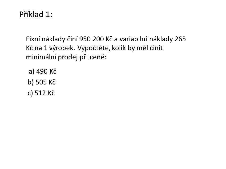 Příklad 1: Fixní náklady činí 950 200 Kč a variabilní náklady 265 Kč na 1 výrobek.
