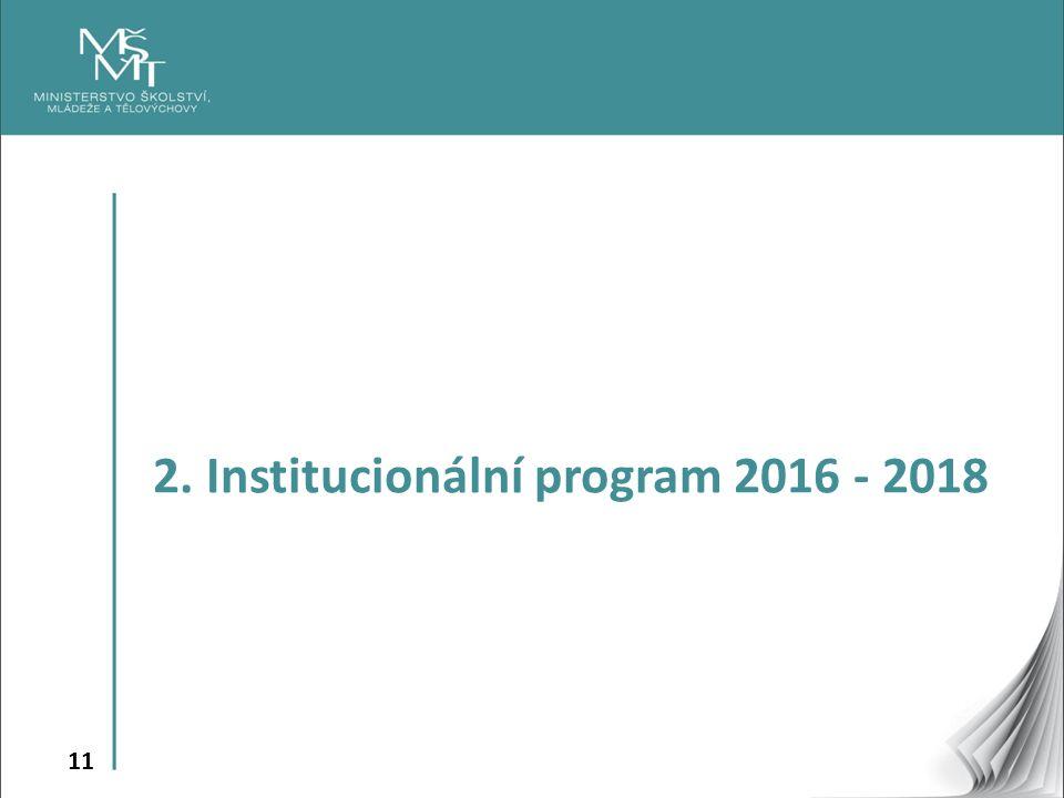11 2. Institucionální program 2016 - 2018