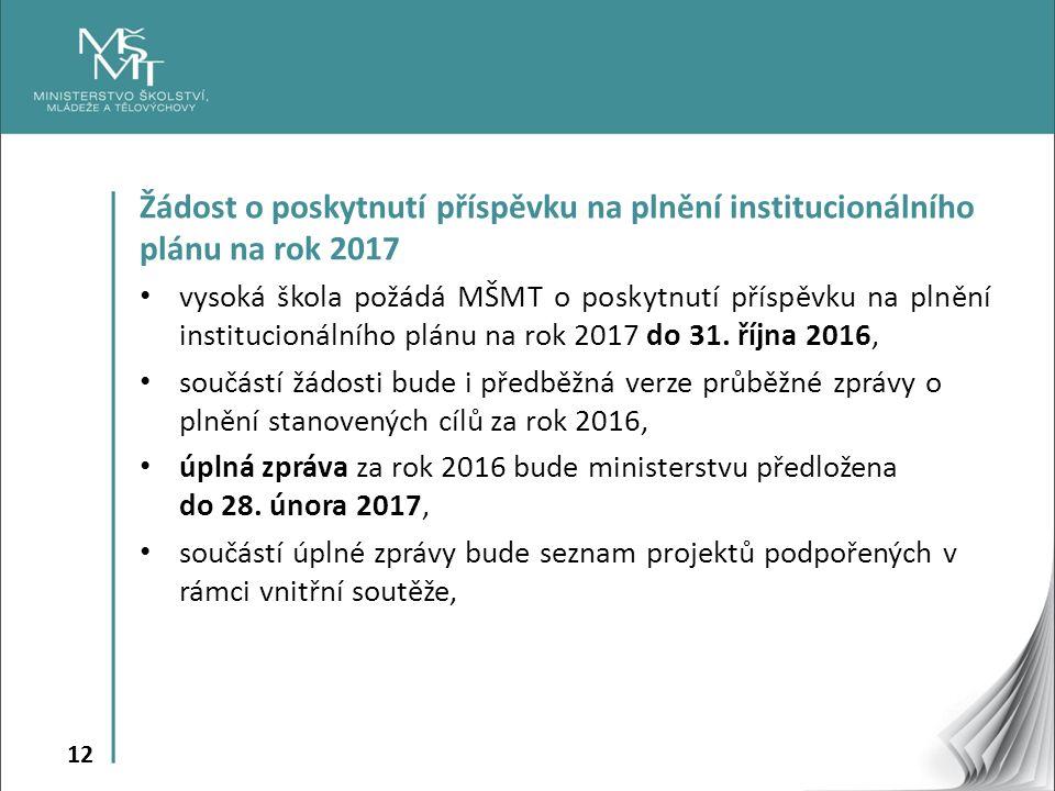 12 Žádost o poskytnutí příspěvku na plnění institucionálního plánu na rok 2017 vysoká škola požádá MŠMT o poskytnutí příspěvku na plnění institucionálního plánu na rok 2017 do 31.