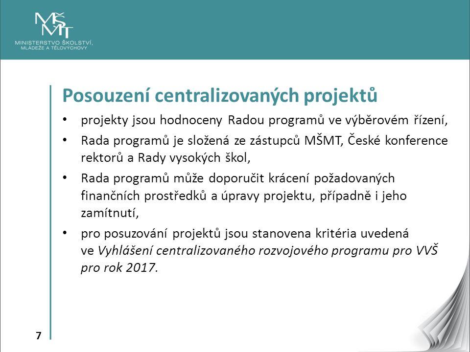 7 Posouzení centralizovaných projektů projekty jsou hodnoceny Radou programů ve výběrovém řízení, Rada programů je složená ze zástupců MŠMT, České konference rektorů a Rady vysokých škol, Rada programů může doporučit krácení požadovaných finančních prostředků a úpravy projektu, případně i jeho zamítnutí, pro posuzování projektů jsou stanovena kritéria uvedená ve Vyhlášení centralizovaného rozvojového programu pro VVŠ pro rok 2017.