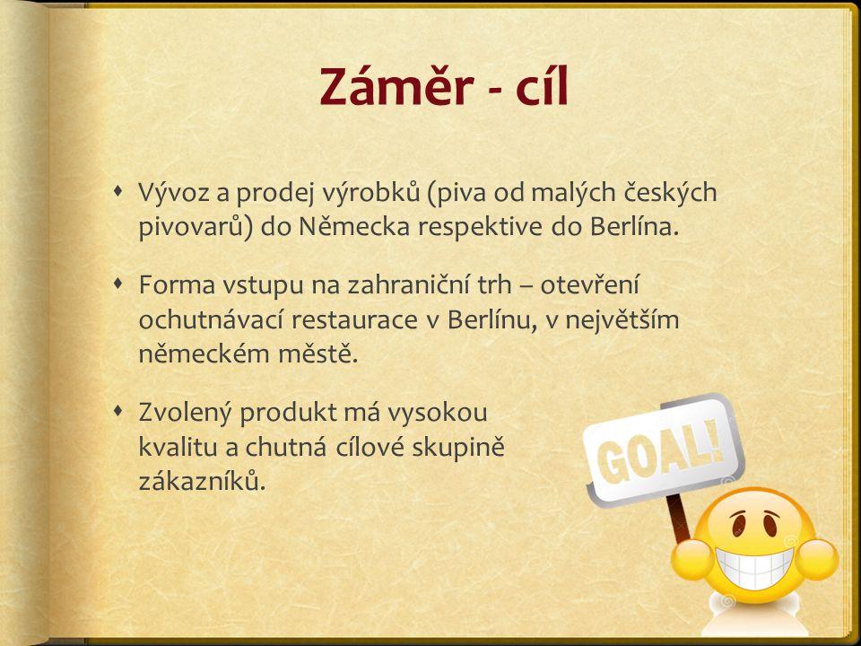 Záměr - cíl  Vývoz a prodej výrobků (piva od malých českých pivovarů) do Německa respektive do Berlína.
