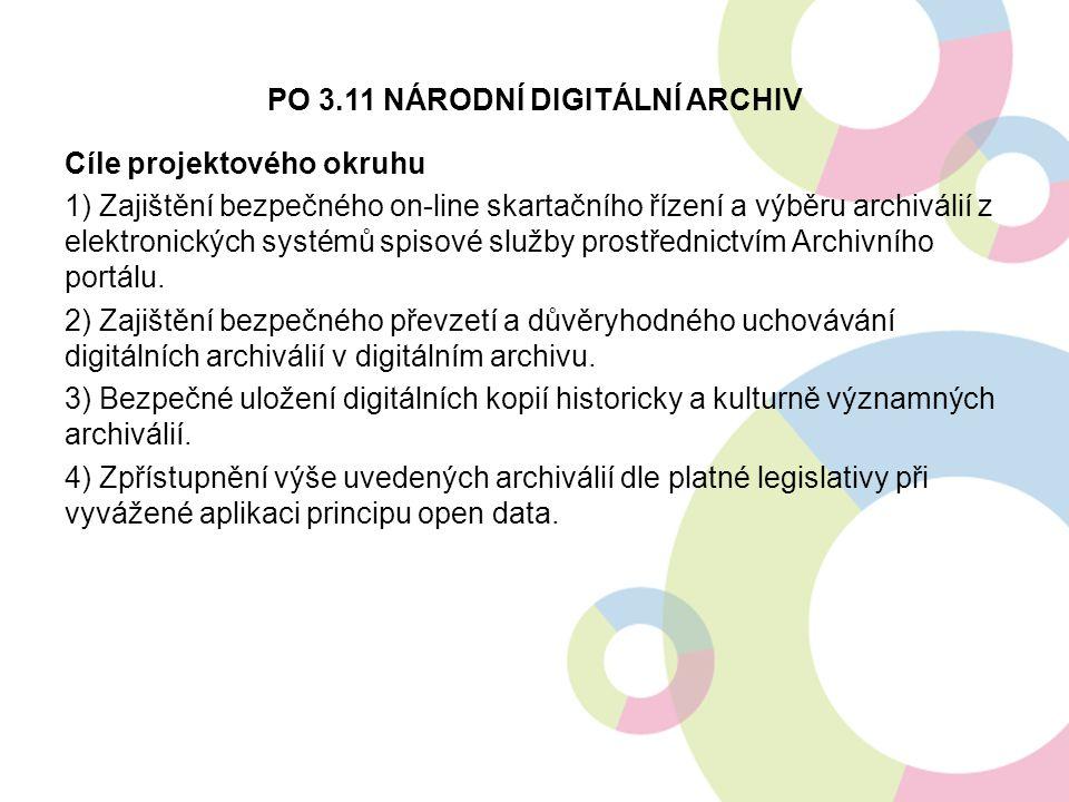 PO 3.11 NÁRODNÍ DIGITÁLNÍ ARCHIV Cíle projektového okruhu 1) Zajištění bezpečného on-line skartačního řízení a výběru archiválií z elektronických systémů spisové služby prostřednictvím Archivního portálu.