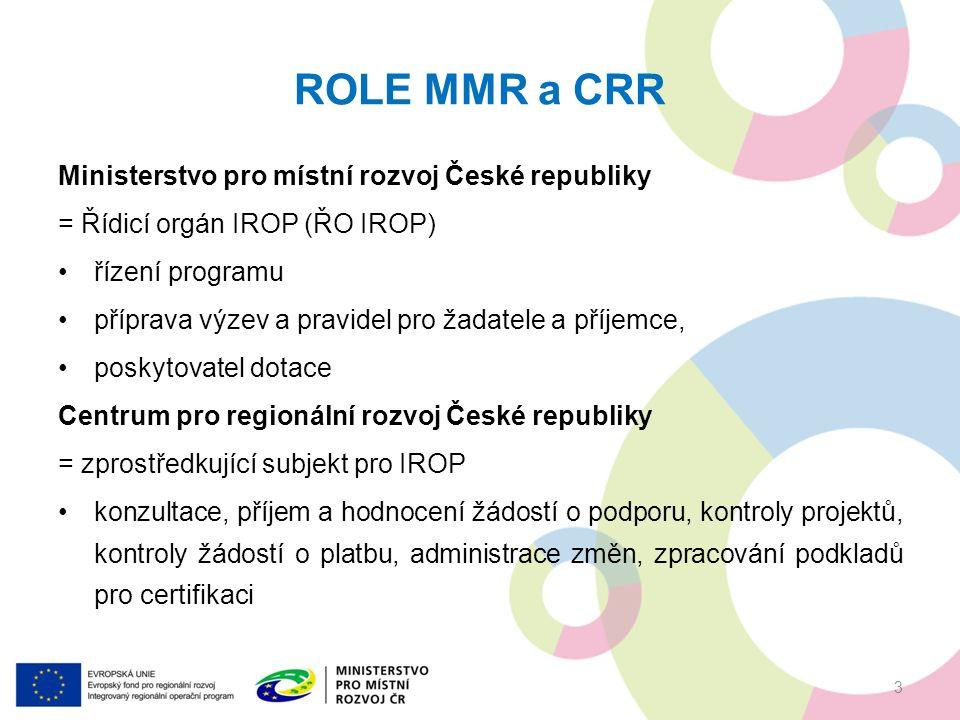 PRAVIDLA PRO ŽADATELE A PŘÍJEMCE Obecná pravidla (závazná pro všechny specifické cíle a výzvy) www.dotaceEU.cz/IROP Specifická pravidla (pro každou výzvu samostatný dokument) www.dotaceEU.cz/IROP podporované aktivity, způsobilé výdaje, hodnoticí kritéria, povinné přílohy 4