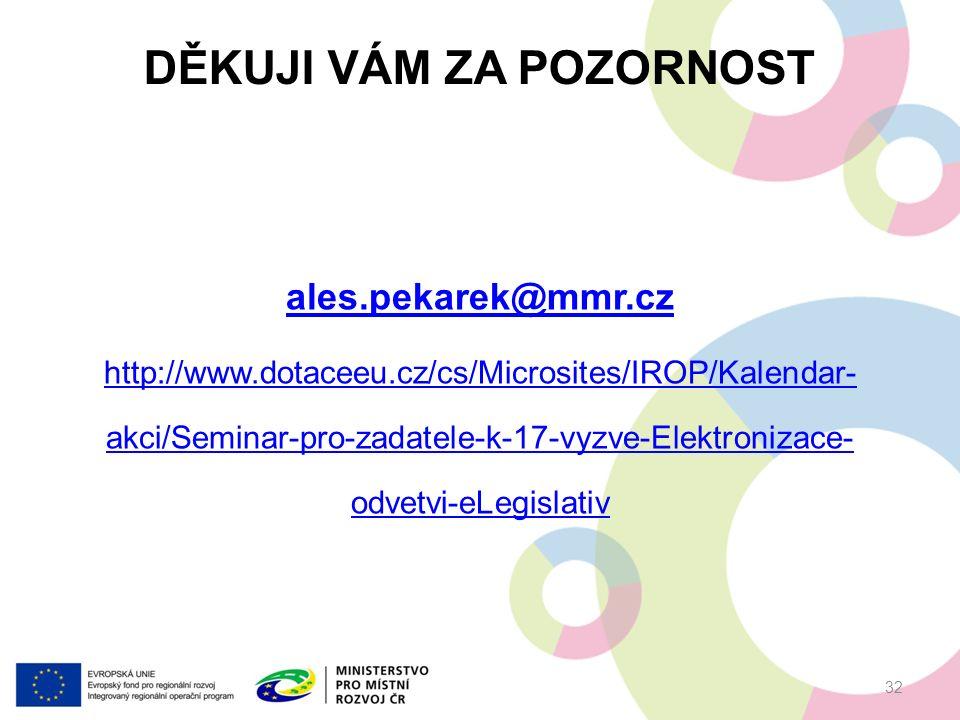 DĚKUJI VÁM ZA POZORNOST ales.pekarek@mmr.cz http://www.dotaceeu.cz/cs/Microsites/IROP/Kalendar- akci/Seminar-pro-zadatele-k-17-vyzve-Elektronizace- odvetvi-eLegislativ 32