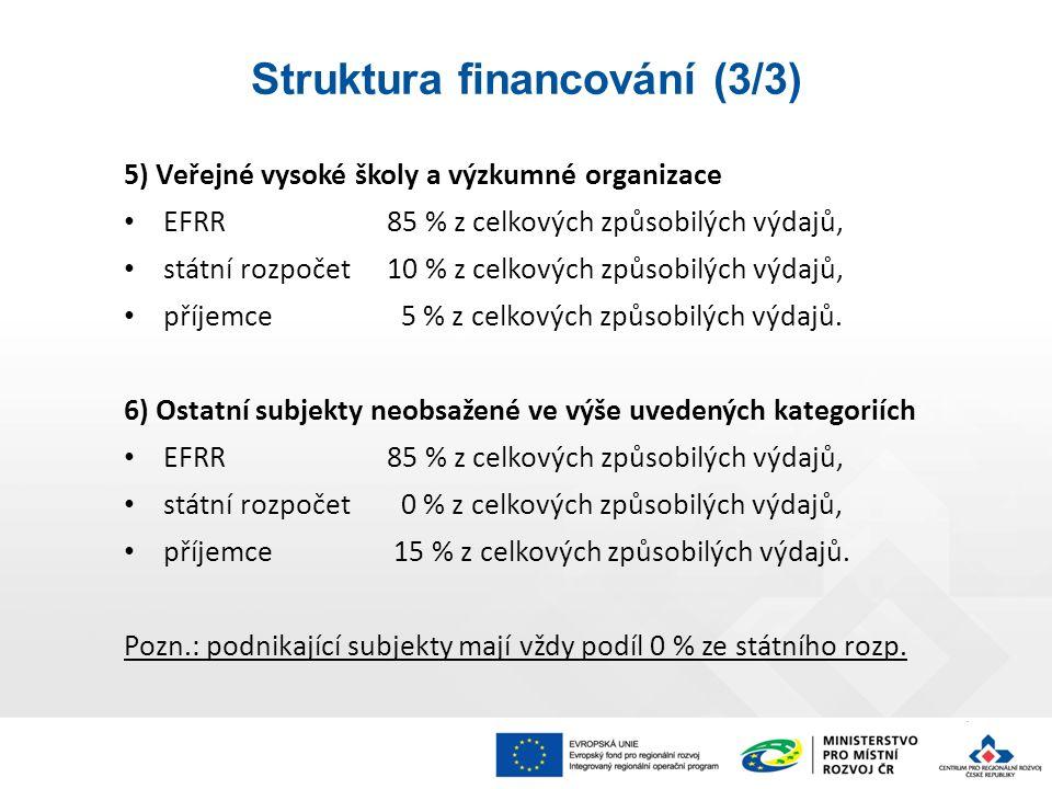 5) Veřejné vysoké školy a výzkumné organizace EFRR85 % z celkových způsobilých výdajů, státní rozpočet10 % z celkových způsobilých výdajů, příjemce 5 % z celkových způsobilých výdajů.