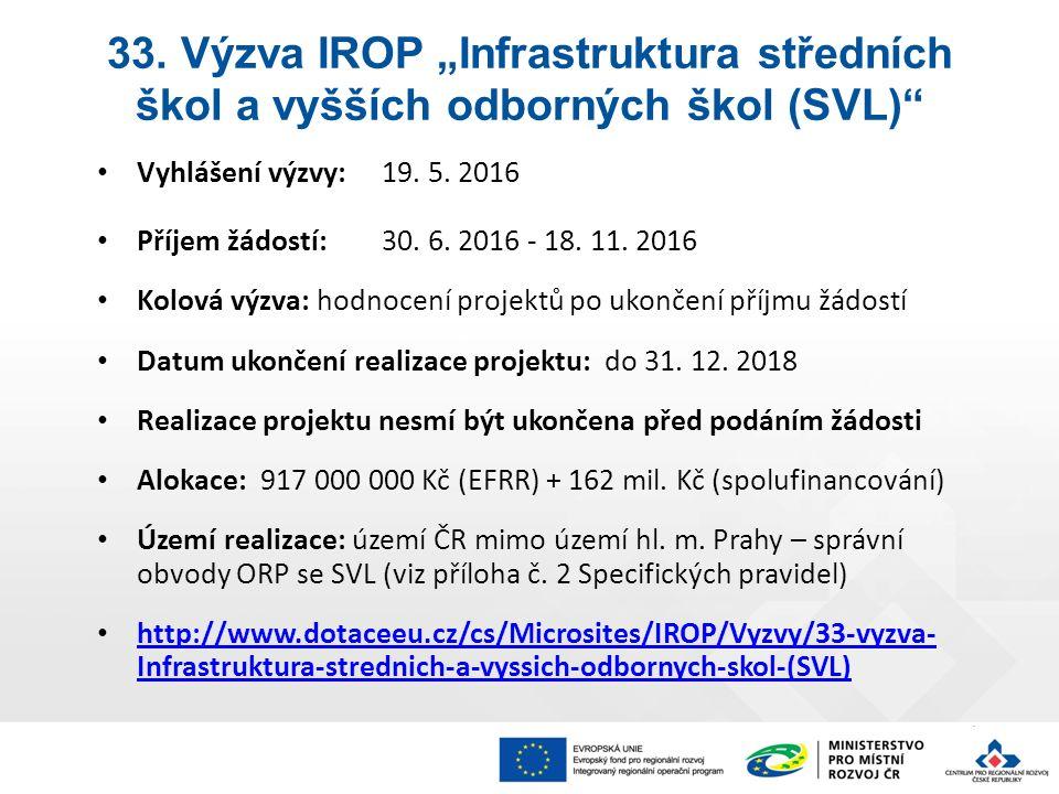 Vyhlášení výzvy: 19. 5. 2016 Příjem žádostí: 30.