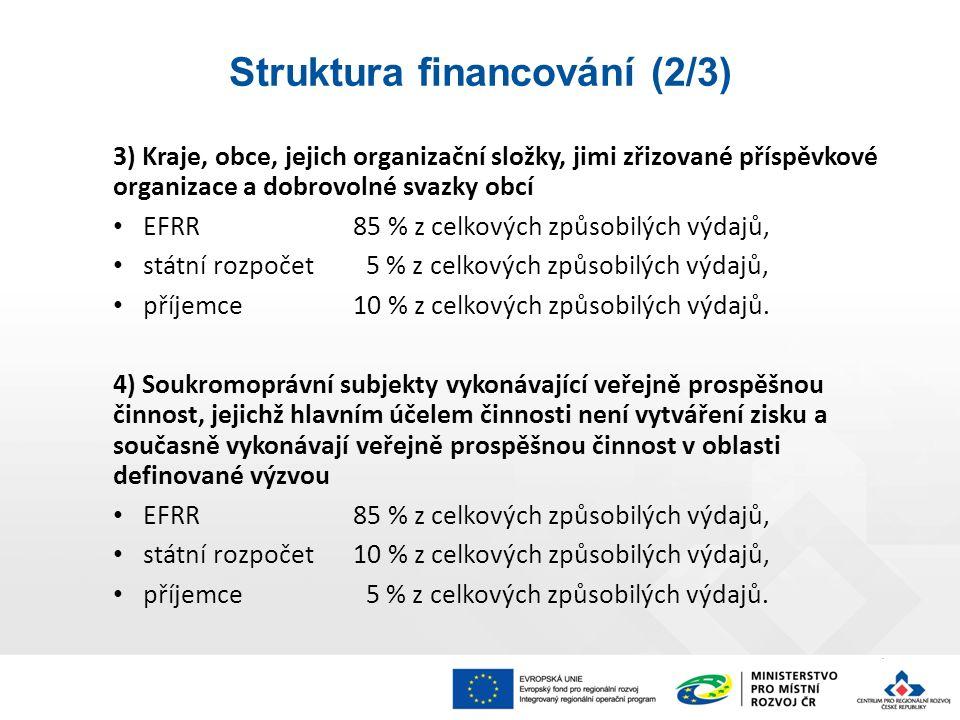 3) Kraje, obce, jejich organizační složky, jimi zřizované příspěvkové organizace a dobrovolné svazky obcí EFRR85 % z celkových způsobilých výdajů, státní rozpočet 5 % z celkových způsobilých výdajů, příjemce10 % z celkových způsobilých výdajů.