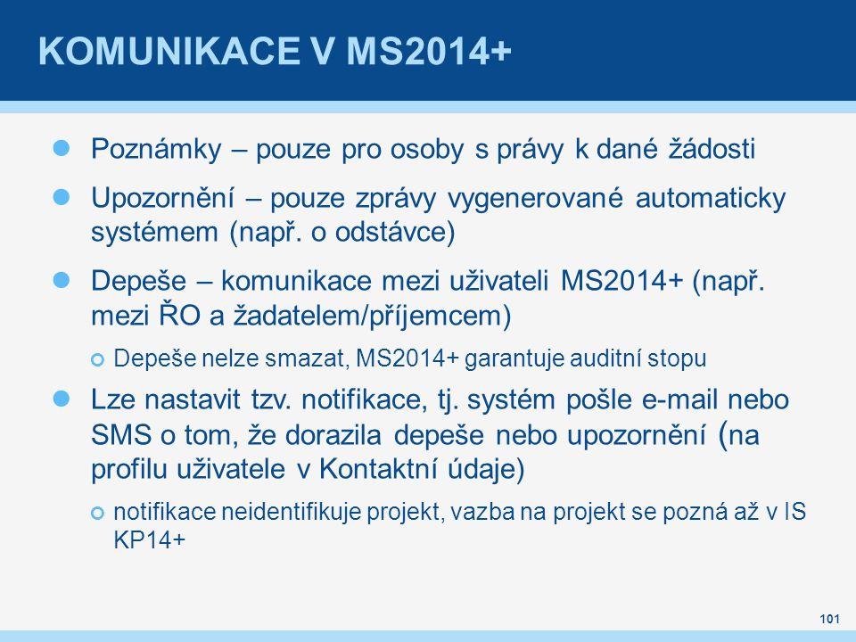 KOMUNIKACE V MS2014+ Poznámky – pouze pro osoby s právy k dané žádosti Upozornění – pouze zprávy vygenerované automaticky systémem (např. o odstávce)