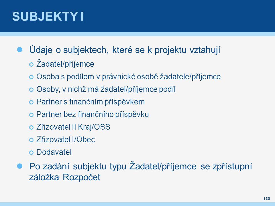 SUBJEKTY I Údaje o subjektech, které se k projektu vztahují Žadatel/příjemce Osoba s podílem v právnické osobě žadatele/příjemce Osoby, v nichž má žad