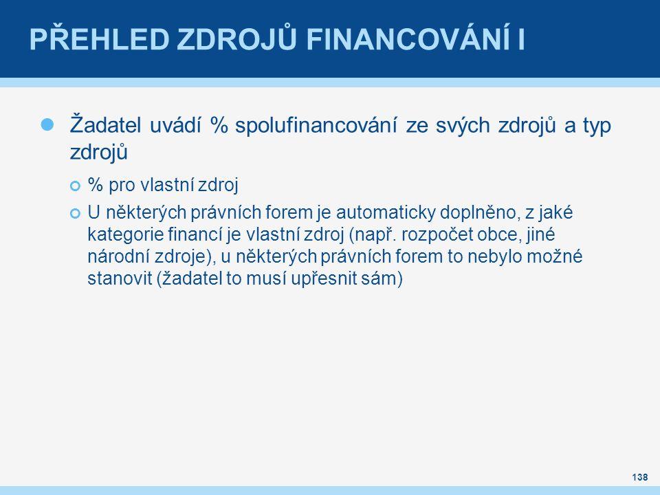 PŘEHLED ZDROJŮ FINANCOVÁNÍ I Žadatel uvádí % spolufinancování ze svých zdrojů a typ zdrojů % pro vlastní zdroj U některých právních forem je automaticky doplněno, z jaké kategorie financí je vlastní zdroj (např.