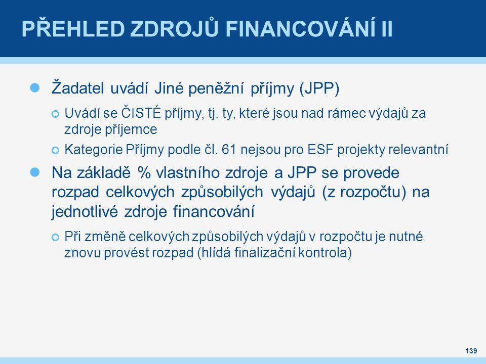 PŘEHLED ZDROJŮ FINANCOVÁNÍ II Žadatel uvádí Jiné peněžní příjmy (JPP) Uvádí se ČISTÉ příjmy, tj. ty, které jsou nad rámec výdajů za zdroje příjemce Ka