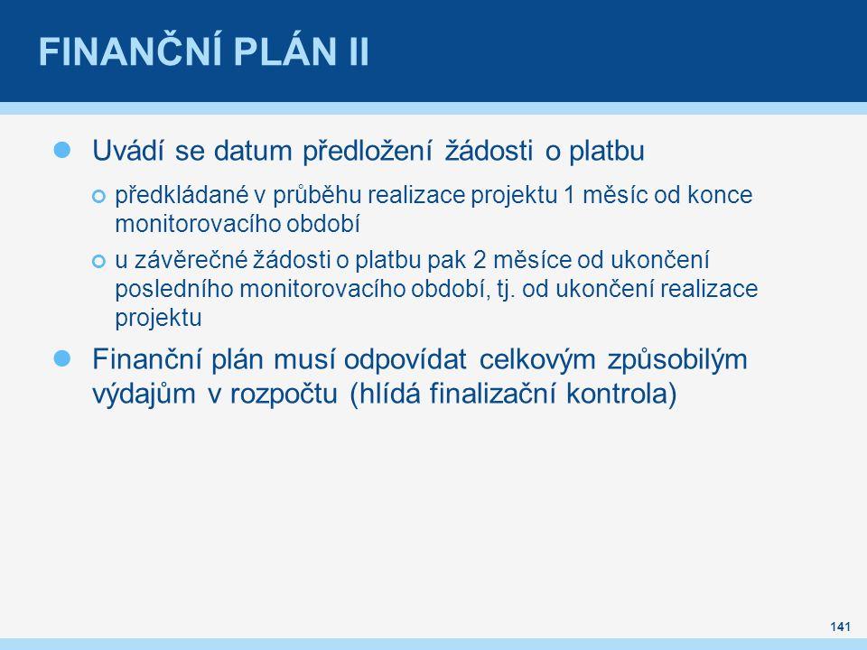 FINANČNÍ PLÁN II Uvádí se datum předložení žádosti o platbu předkládané v průběhu realizace projektu 1 měsíc od konce monitorovacího období u závěrečn