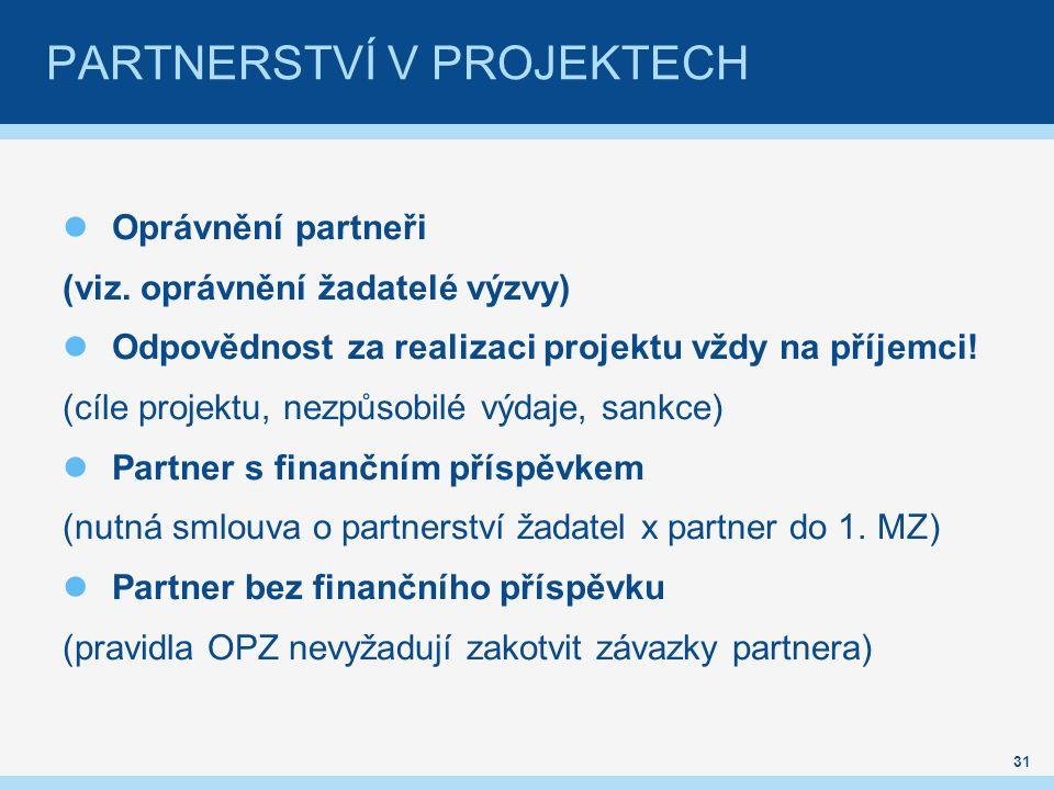 Oprávnění partneři (viz. oprávnění žadatelé výzvy) Odpovědnost za realizaci projektu vždy na příjemci! (cíle projektu, nezpůsobilé výdaje, sankce) Par