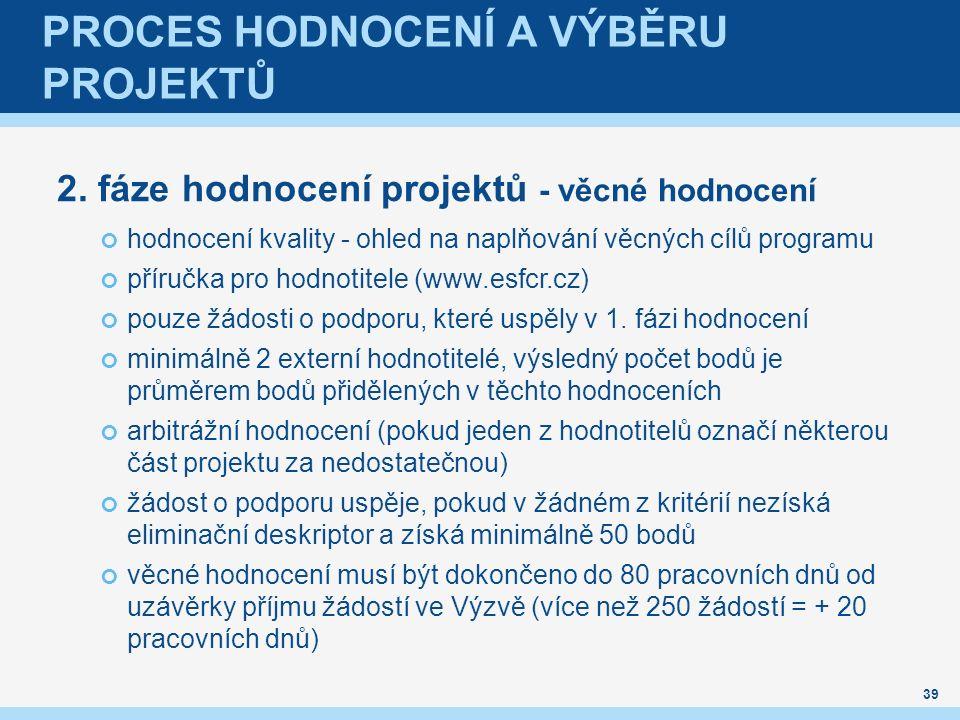 PROCES HODNOCENÍ A VÝBĚRU PROJEKTŮ 2.