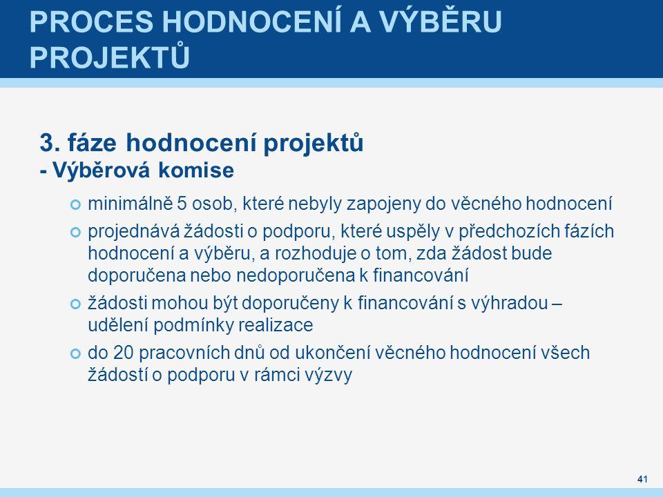 PROCES HODNOCENÍ A VÝBĚRU PROJEKTŮ 3. fáze hodnocení projektů - Výběrová komise minimálně 5 osob, které nebyly zapojeny do věcného hodnocení projednáv