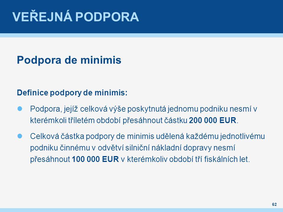VEŘEJNÁ PODPORA Podpora de minimis Definice podpory de minimis: Podpora, jejíž celková výše poskytnutá jednomu podniku nesmí v kterémkoli tříletém období přesáhnout částku 200 000 EUR.