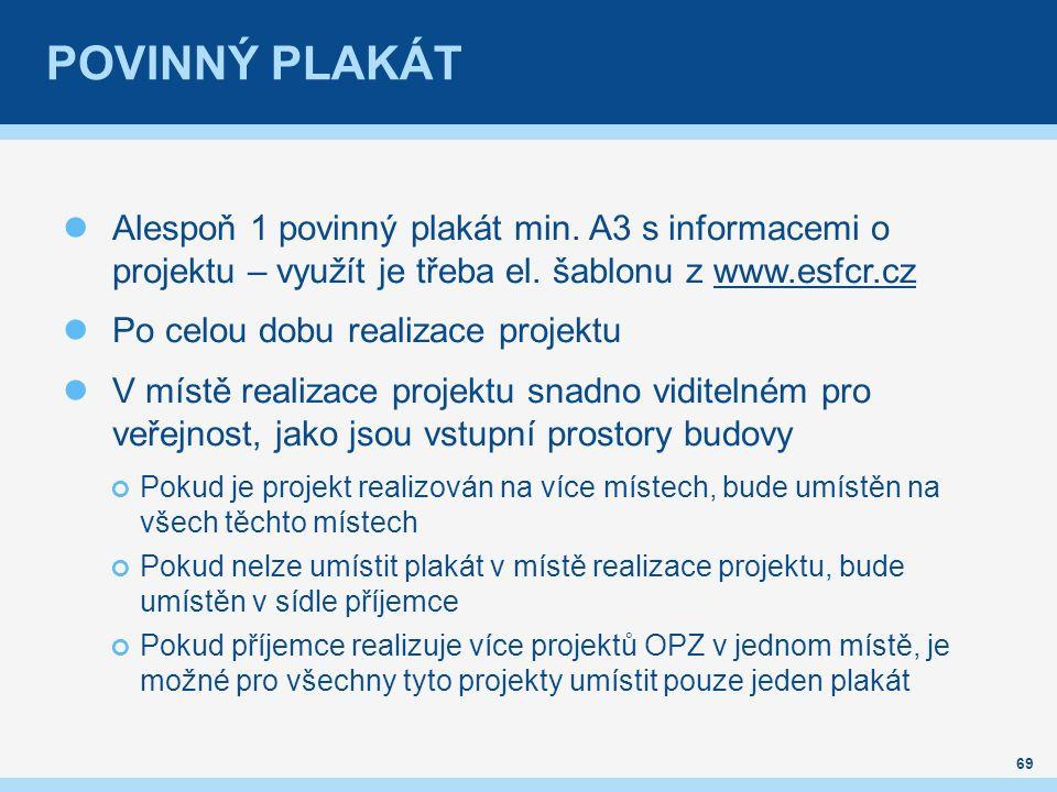 POVINNÝ PLAKÁT Alespoň 1 povinný plakát min. A3 s informacemi o projektu – využít je třeba el. šablonu z www.esfcr.czwww.esfcr.cz Po celou dobu realiz