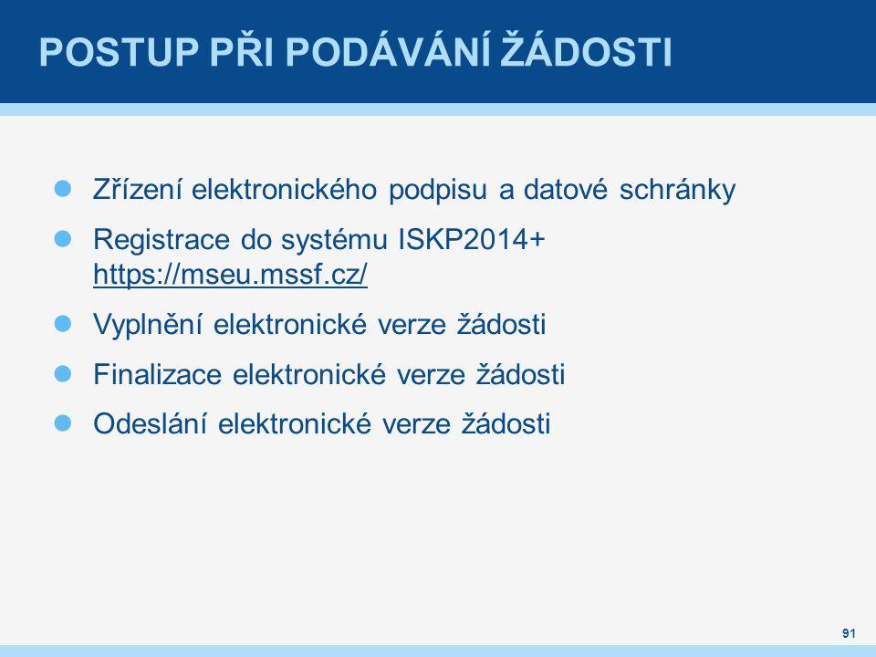 POSTUP PŘI PODÁVÁNÍ ŽÁDOSTI Zřízení elektronického podpisu a datové schránky Registrace do systému ISKP2014+ https://mseu.mssf.cz/ https://mseu.mssf.c