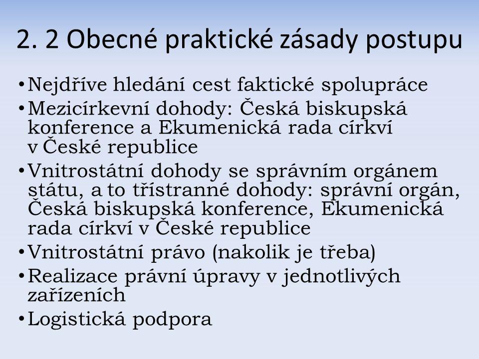 2. 2 Obecné praktické zásady postupu Nejdříve hledání cest faktické spolupráce Mezicírkevní dohody: Česká biskupská konference a Ekumenická rada církv