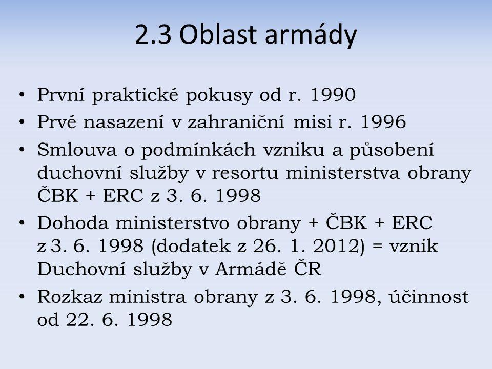 2.3 Oblast armády První praktické pokusy od r. 1990 Prvé nasazení v zahraniční misi r.