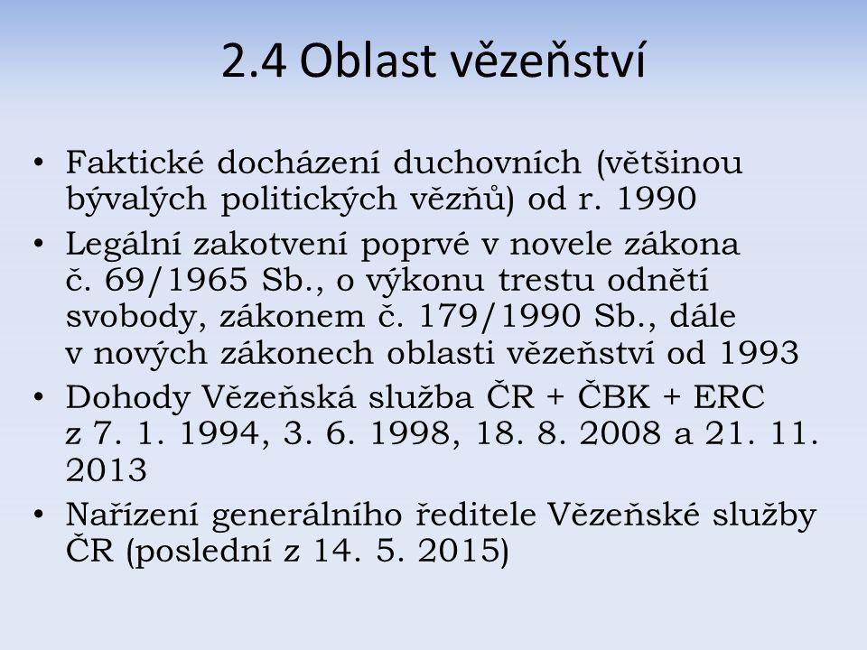 2.4 Oblast vězeňství Faktické docházení duchovních (většinou bývalých politických vězňů) od r.