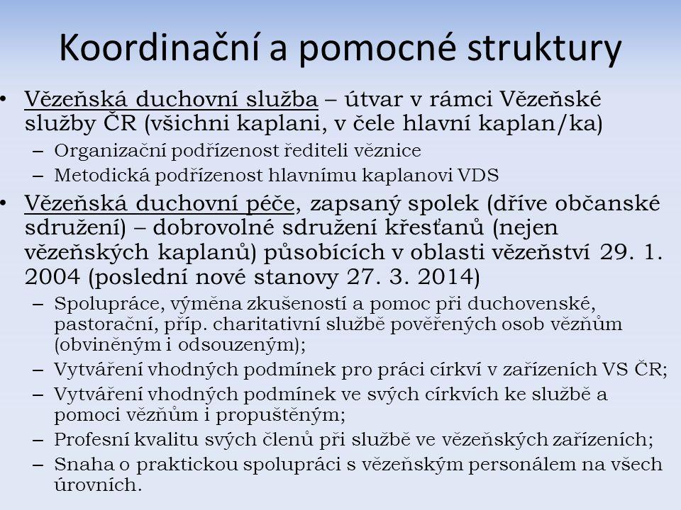 Koordinační a pomocné struktury Vězeňská duchovní služba – útvar v rámci Vězeňské služby ČR (všichni kaplani, v čele hlavní kaplan/ka) – Organizační podřízenost řediteli věznice – Metodická podřízenost hlavnímu kaplanovi VDS Vězeňská duchovní péče, zapsaný spolek (dříve občanské sdružení) – dobrovolné sdružení křesťanů (nejen vězeňských kaplanů) působících v oblasti vězeňství 29.