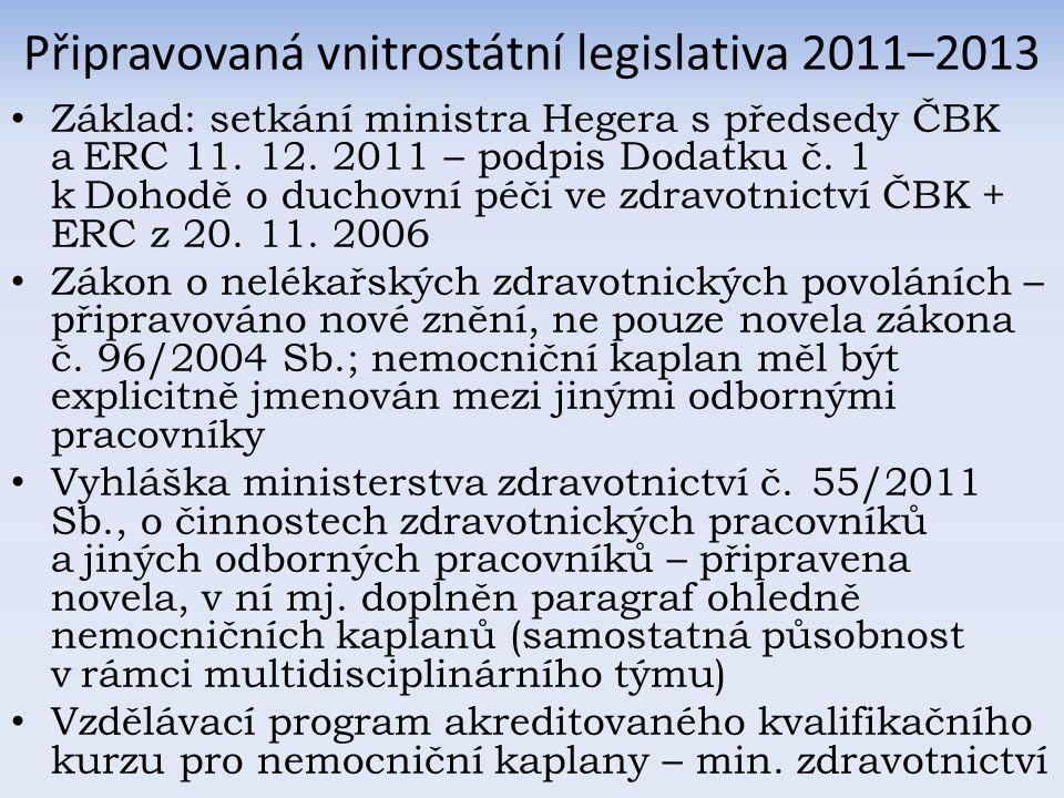 Připravovaná vnitrostátní legislativa 2011–2013 Základ: setkání ministra Hegera s předsedy ČBK a ERC 11.