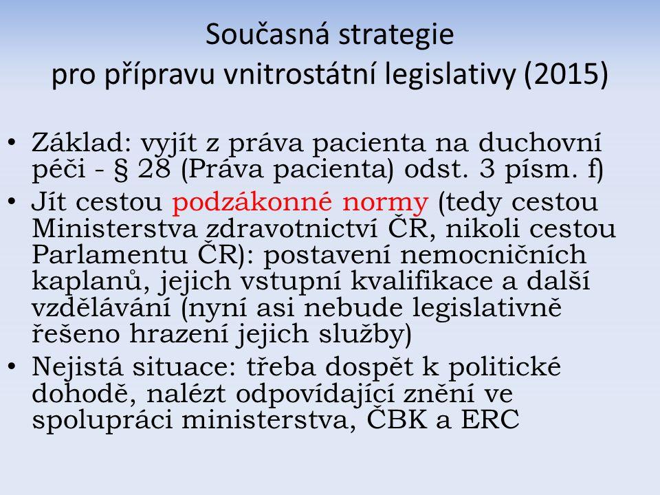 Současná strategie pro přípravu vnitrostátní legislativy (2015) Základ: vyjít z práva pacienta na duchovní péči - § 28 (Práva pacienta) odst.