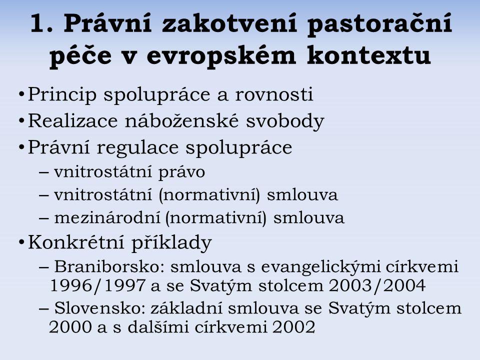 3.1 Mezinárodní dohody ČR: dosud žádná platná, návrh Smlouvy mezi Českou republikou a Svatým stolcem o úpravě vzájemných vztahů podepsán 25.