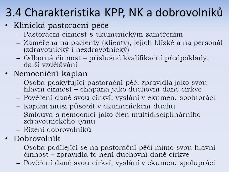 3.4 Charakteristika KPP, NK a dobrovolníků Klinická pastorační péče – Pastorační činnost s ekumenickým zaměřením – Zaměřena na pacienty (klienty), jejich blízké a na personál (zdravotnický i nezdravotnický) – Odborná činnost – příslušné kvalifikační předpoklady, další vzdělávání Nemocniční kaplan – Osoba poskytující pastorační péči zpravidla jako svou hlavní činnost – chápána jako duchovní dané církve – Pověření dané svou církví, vyslání v ekumen.