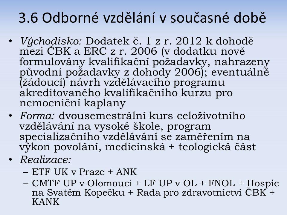 Východisko: Dodatek č. 1 z r. 2012 k dohodě mezi ČBK a ERC z r.