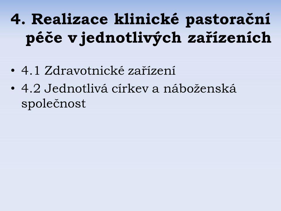 4.1 Zdravotnické zařízení 4.2 Jednotlivá církev a náboženská společnost 4.