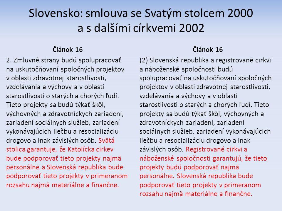 Slovensko: smlouva se Svatým stolcem 2000 a s dalšími církvemi 2002 Článok 16 2.