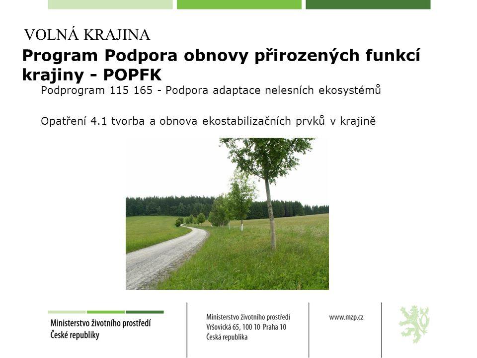 Program Podpora obnovy přirozených funkcí krajiny - POPFK Podprogram 115 165 - Podpora adaptace nelesních ekosystémů Opatření 4.1 tvorba a obnova ekos
