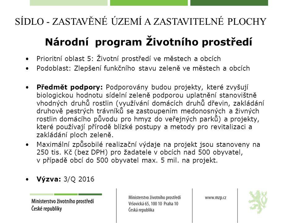 Národní program Životního prostředí Prioritní oblast 5: Životní prostředí ve městech a obcích Podoblast: Zlepšení funkčního stavu zeleně ve městech a