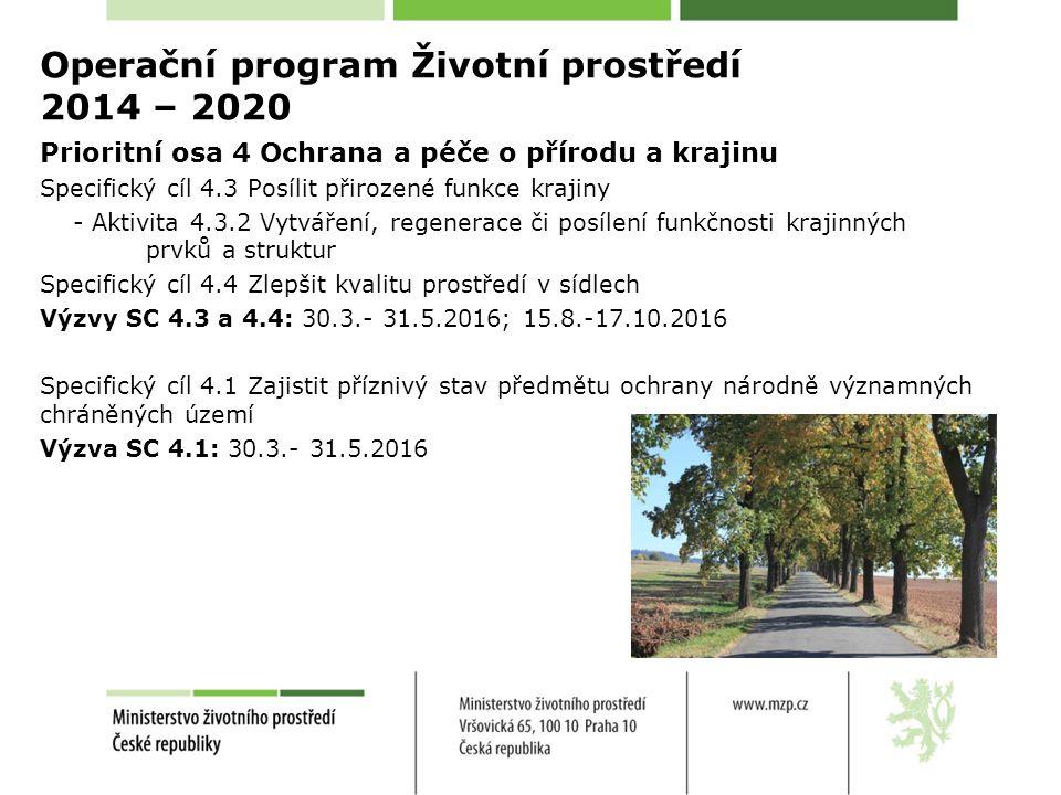 Operační program Životní prostředí 2014 – 2020 Prioritní osa 4 Ochrana a péče o přírodu a krajinu Specifický cíl 4.3 Posílit přirozené funkce krajiny