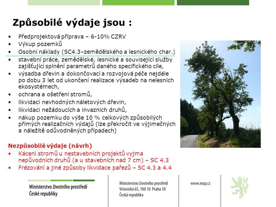 Způsobilé výdaje jsou : Předprojektová příprava – 6-10% CZRV Výkup pozemků Osobní náklady (SC4.3–zemědělského a lesnického char.) stavební práce, země