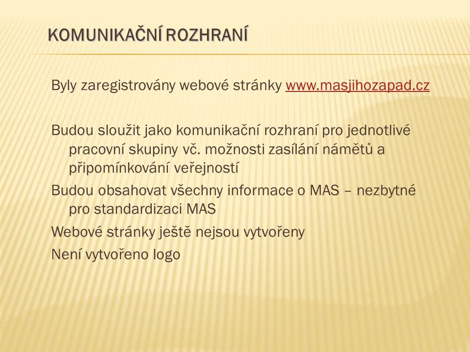 Byly zaregistrovány webové stránky www.masjihozapad.czwww.masjihozapad.cz Budou sloužit jako komunikační rozhraní pro jednotlivé pracovní skupiny vč.