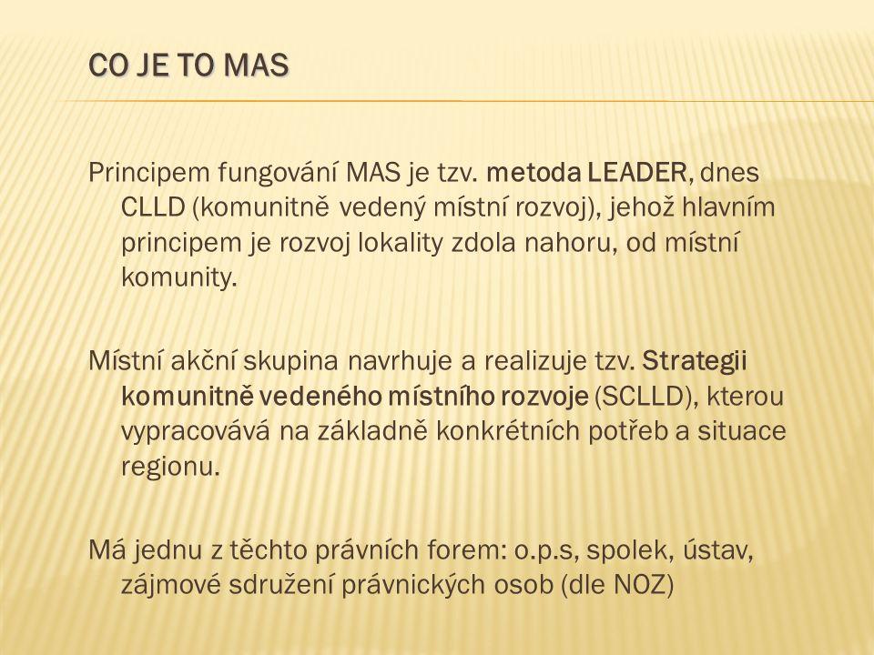Principem fungování MAS je tzv. metoda LEADER, dnes CLLD (komunitně vedený místní rozvoj), jehož hlavním principem je rozvoj lokality zdola nahoru, od