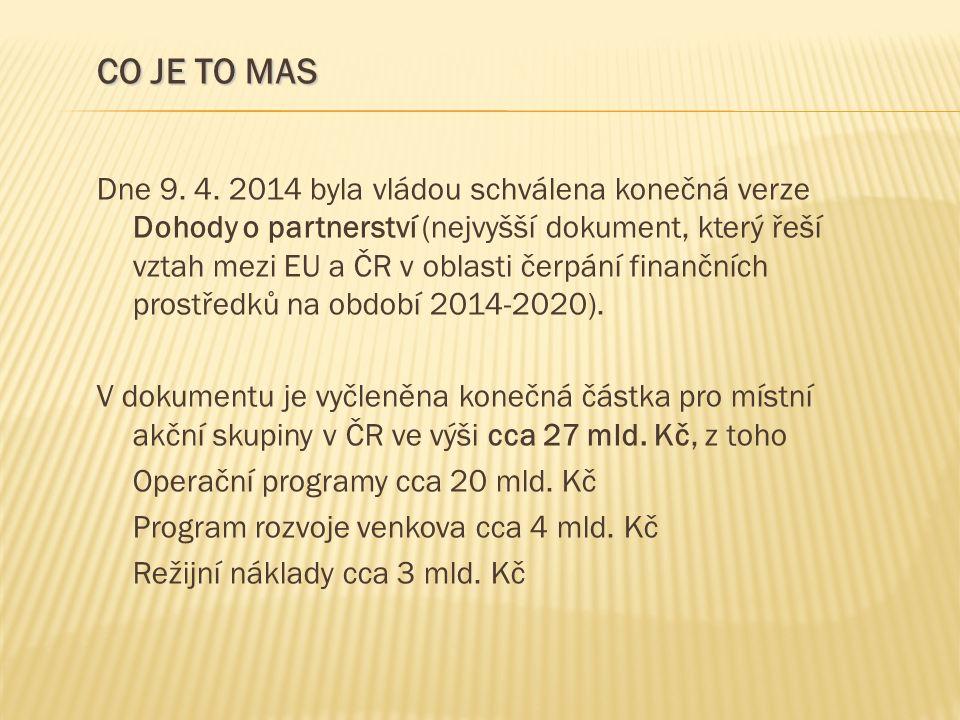Dne 9. 4. 2014 byla vládou schválena konečná verze Dohody o partnerství (nejvyšší dokument, který řeší vztah mezi EU a ČR v oblasti čerpání finančních