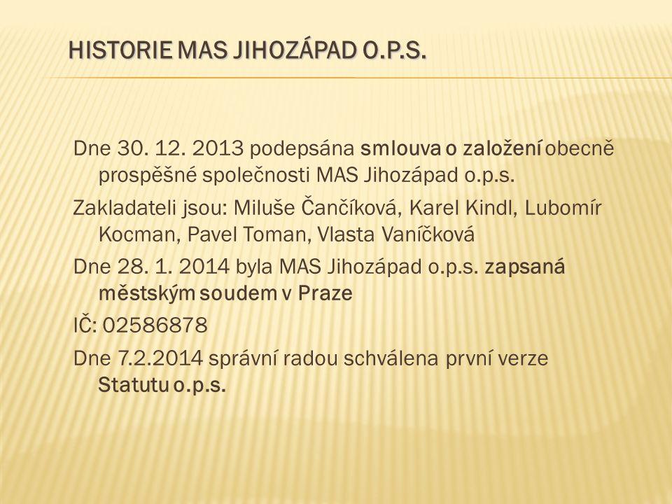 Dne 30. 12. 2013 podepsána smlouva o založení obecně prospěšné společnosti MAS Jihozápad o.p.s. Zakladateli jsou: Miluše Čančíková, Karel Kindl, Lubom