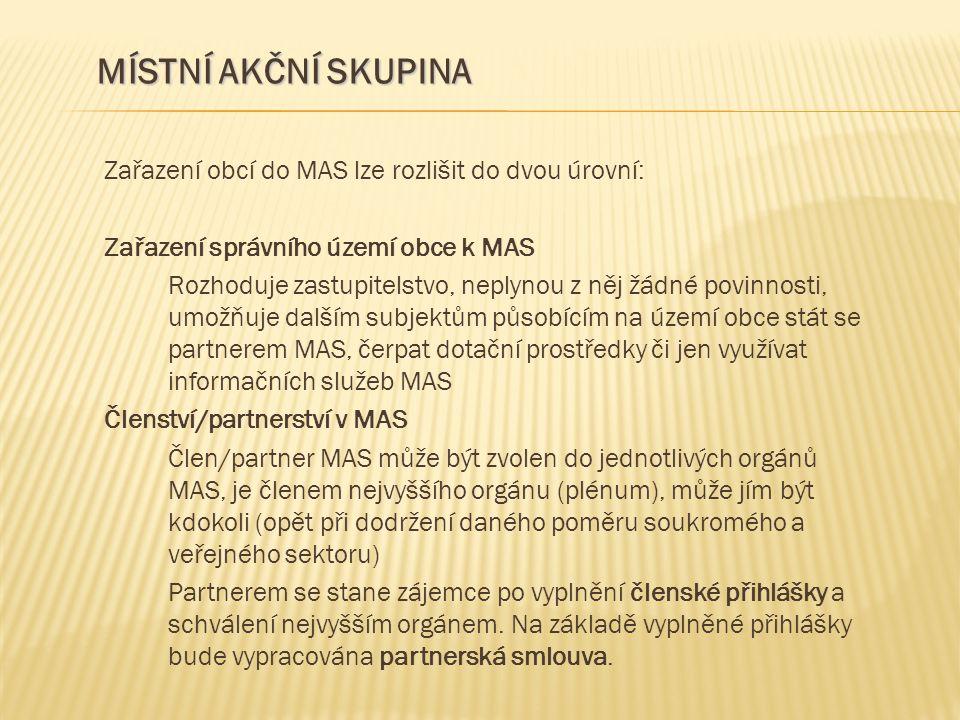 Zařazení obcí do MAS lze rozlišit do dvou úrovní: Zařazení správního území obce k MAS Rozhoduje zastupitelstvo, neplynou z něj žádné povinnosti, umožň