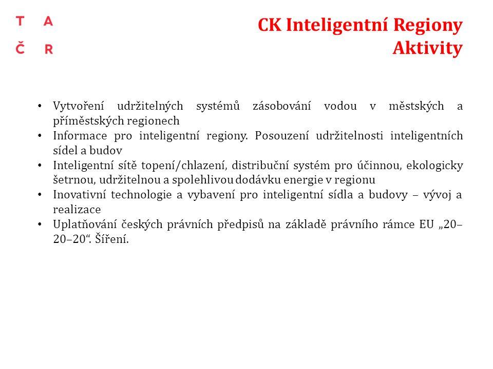 CK Inteligentní Regiony Aktivity Vytvoření udržitelných systémů zásobování vodou v městských a příměstských regionech Informace pro inteligentní regio