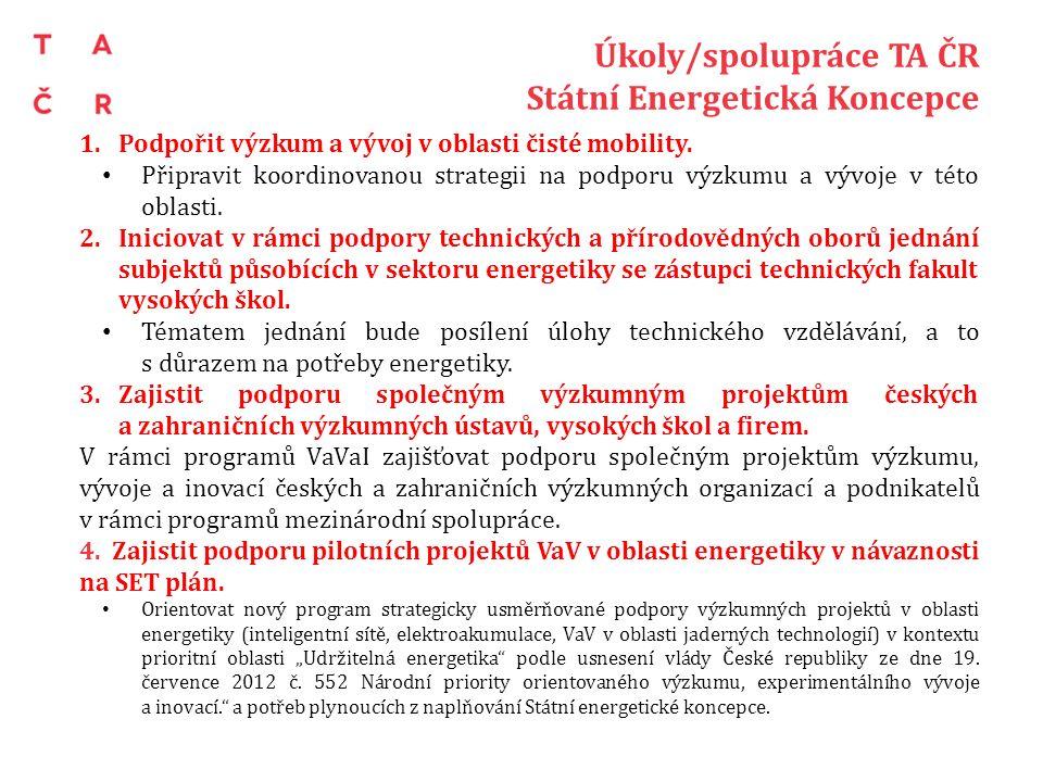 Úkoly/spolupráce TA ČR Státní Energetická Koncepce 1.Podpořit výzkum a vývoj v oblasti čisté mobility. Připravit koordinovanou strategii na podporu vý