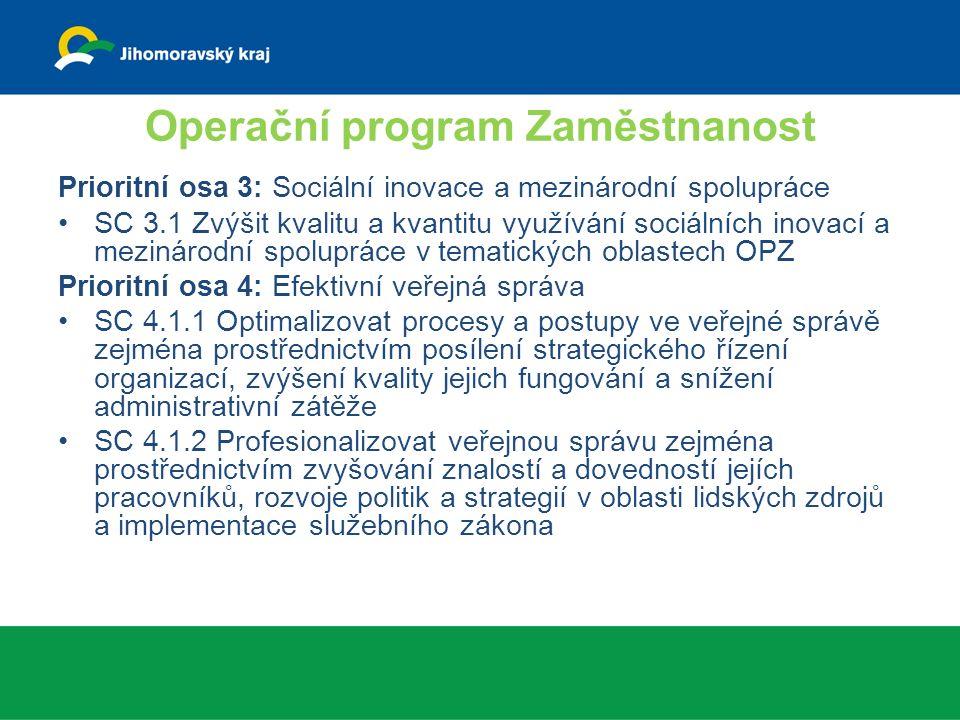 Operační program Zaměstnanost Prioritní osa 3: Sociální inovace a mezinárodní spolupráce SC 3.1 Zvýšit kvalitu a kvantitu využívání sociálních inovací a mezinárodní spolupráce v tematických oblastech OPZ Prioritní osa 4: Efektivní veřejná správa SC 4.1.1 Optimalizovat procesy a postupy ve veřejné správě zejména prostřednictvím posílení strategického řízení organizací, zvýšení kvality jejich fungování a snížení administrativní zátěže SC 4.1.2 Profesionalizovat veřejnou správu zejména prostřednictvím zvyšování znalostí a dovedností jejích pracovníků, rozvoje politik a strategií v oblasti lidských zdrojů a implementace služebního zákona