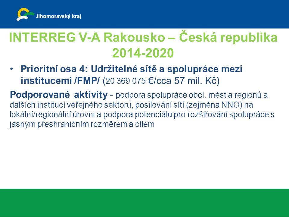 INTERREG V-A Rakousko – Česká republika 2014-2020 Prioritní osa 4: Udržitelné sítě a spolupráce mezi institucemi /FMP/ ( 20 369 075 €/cca 57 mil.