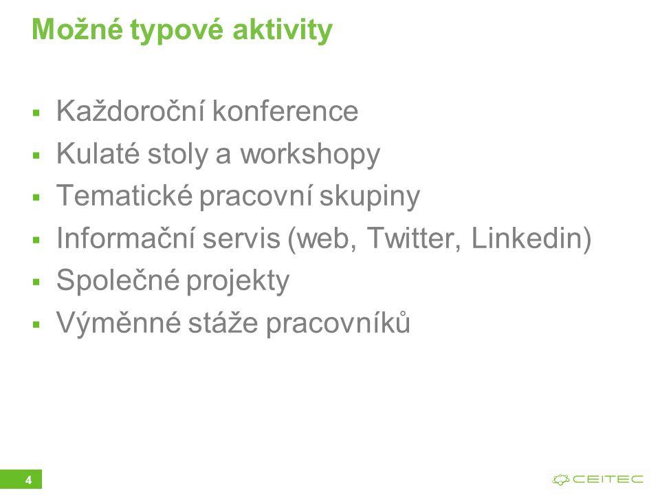 4 Možné typové aktivity  Každoroční konference  Kulaté stoly a workshopy  Tematické pracovní skupiny  Informační servis (web, Twitter, Linkedin)  Společné projekty  Výměnné stáže pracovníků