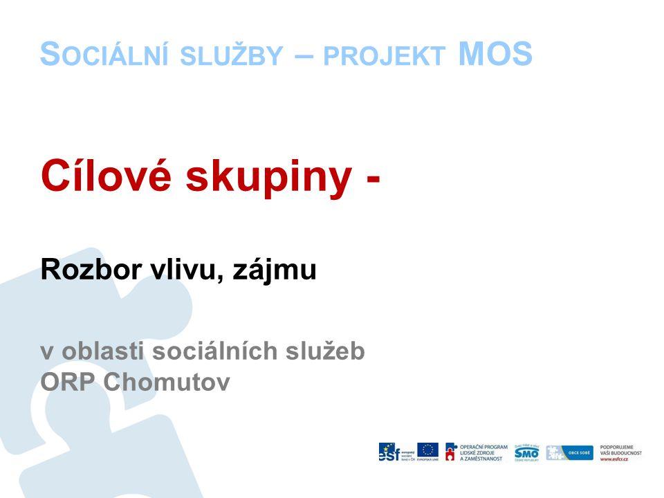 S OCIÁLNÍ SLUŽBY – PROJEKT MOS Cílové skupiny - Rozbor vlivu, zájmu v oblasti sociálních služeb ORP Chomutov