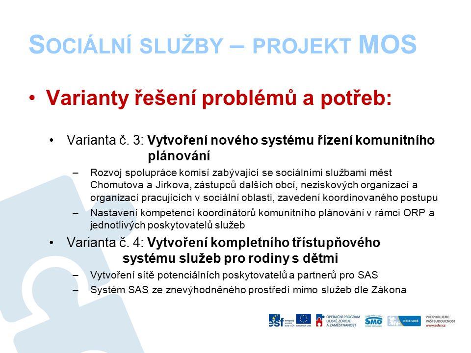 S OCIÁLNÍ SLUŽBY – PROJEKT MOS Varianty řešení problémů a potřeb: Varianta č.