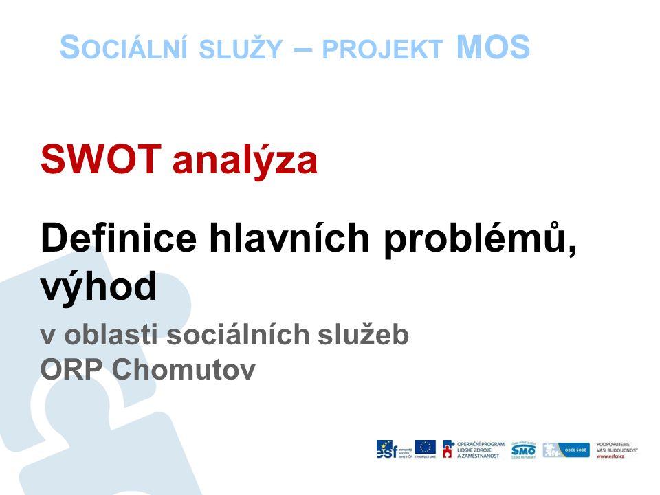 S OCIÁLNÍ SLUŽY – PROJEKT MOS SWOT analýza Definice hlavních problémů, výhod v oblasti sociálních služeb ORP Chomutov